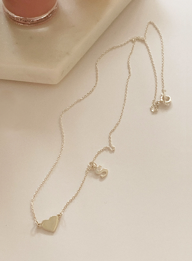 자체제작 (Silver 925) initial and heart necklace (2 colors)