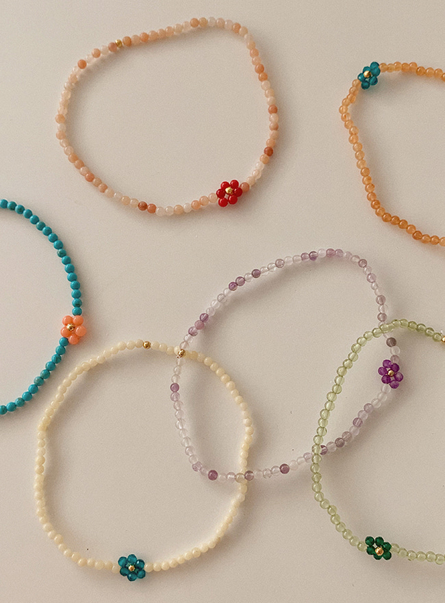 바이올렛 꽃 컬러변경 full of flower beads bracelet (6 colors)