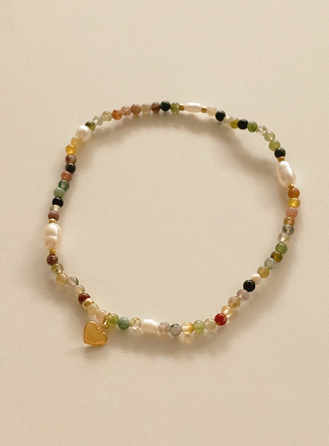 heart and mix beads bracelet