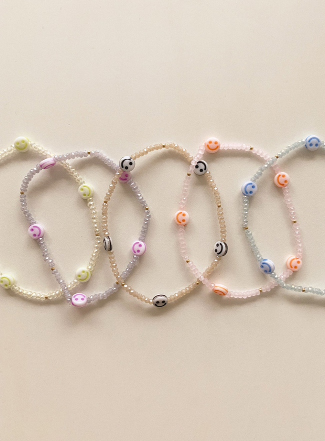 smile and crystal bracelet (5 colors)