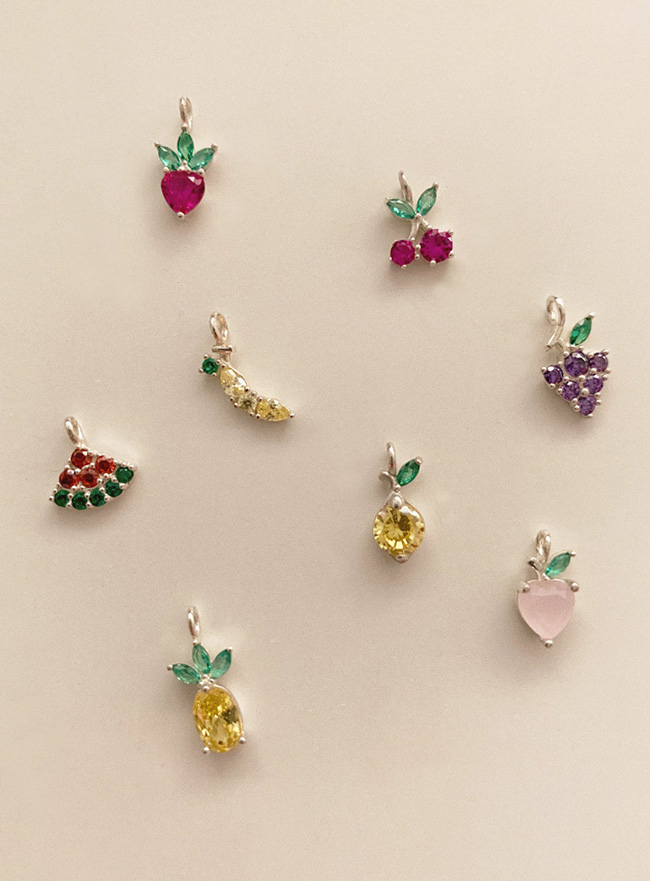 (Silver 925) fruit cubic necklace (8 types)