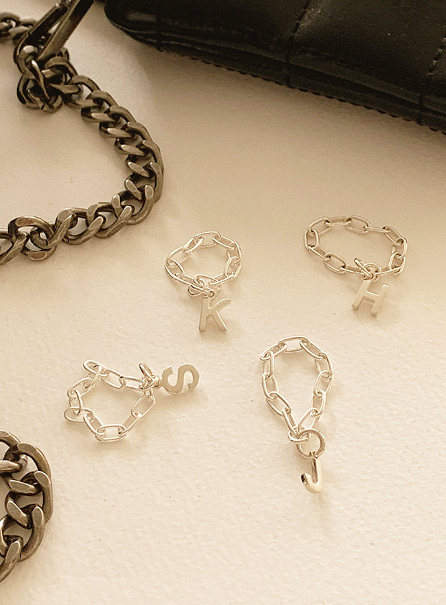 (Silver 925) initial chain ring (A~Z)