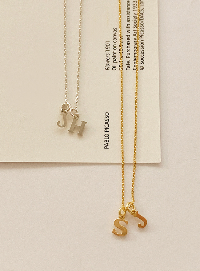 (Silver 925) min initial necklace (펜던트2개 조합)