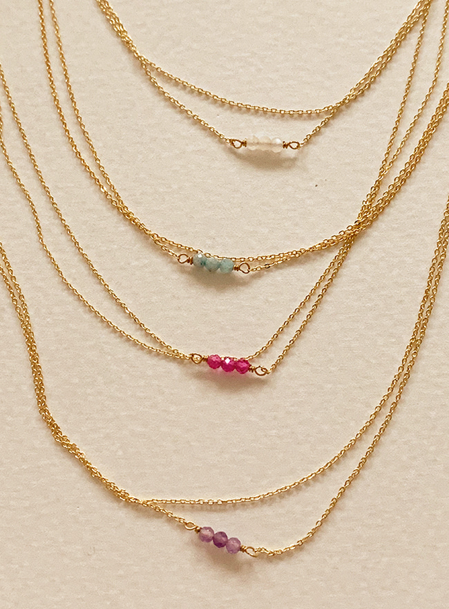 three gems necklace (5 colors)