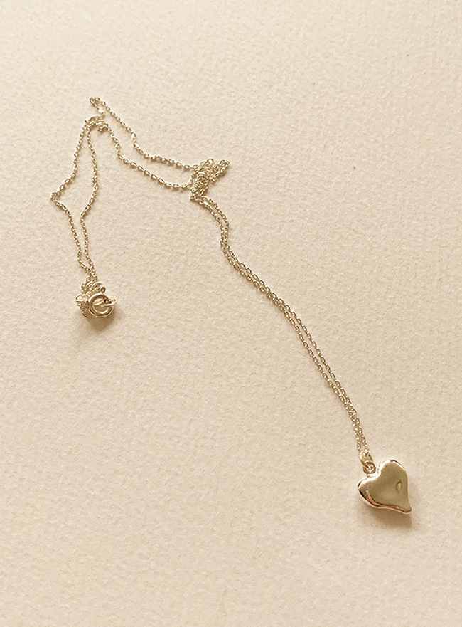 (Silver 925) slim heart necklace (2 colors)