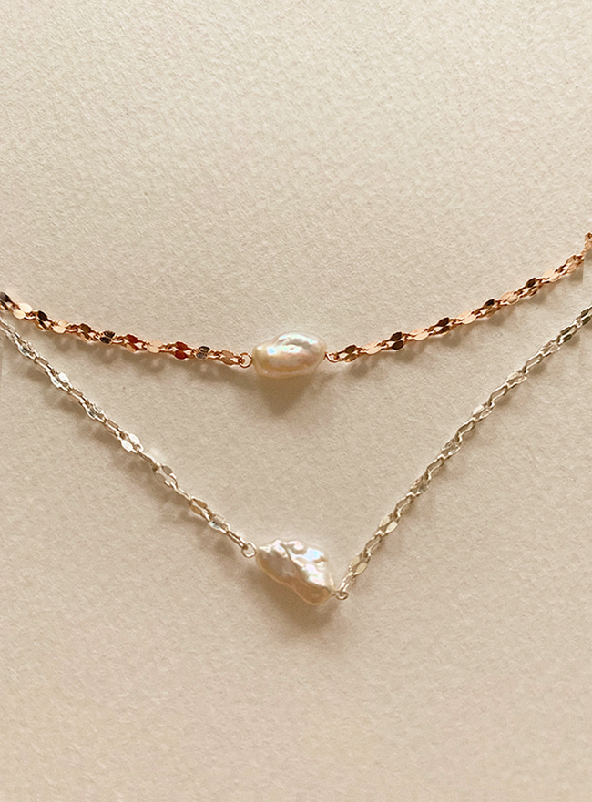 (Silver 925) pearl chain necklace (2 colors)