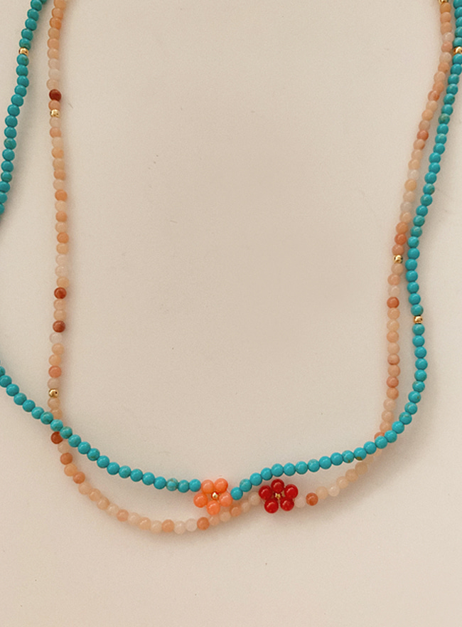 full of flower beads necklace 2 (2 colors)