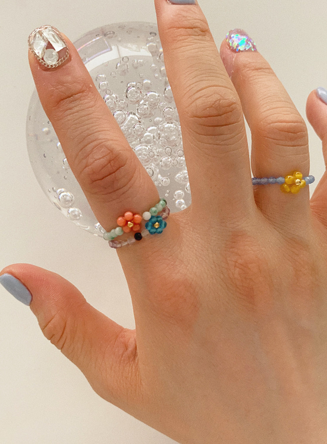 colorful flower beads ring (6 colors)