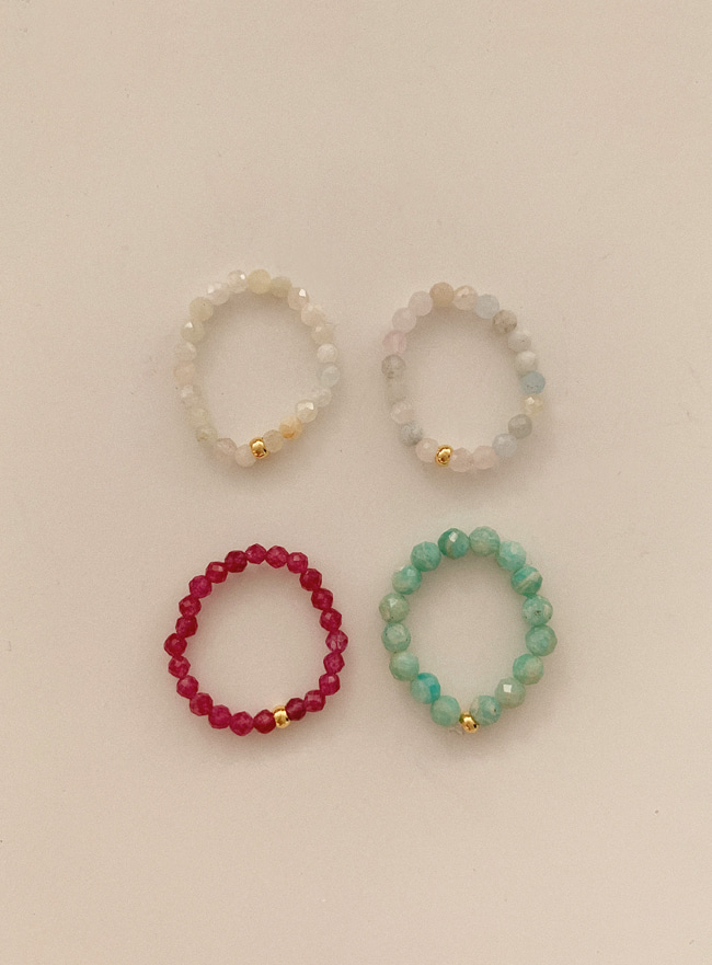natural beads ring (4 colors)
