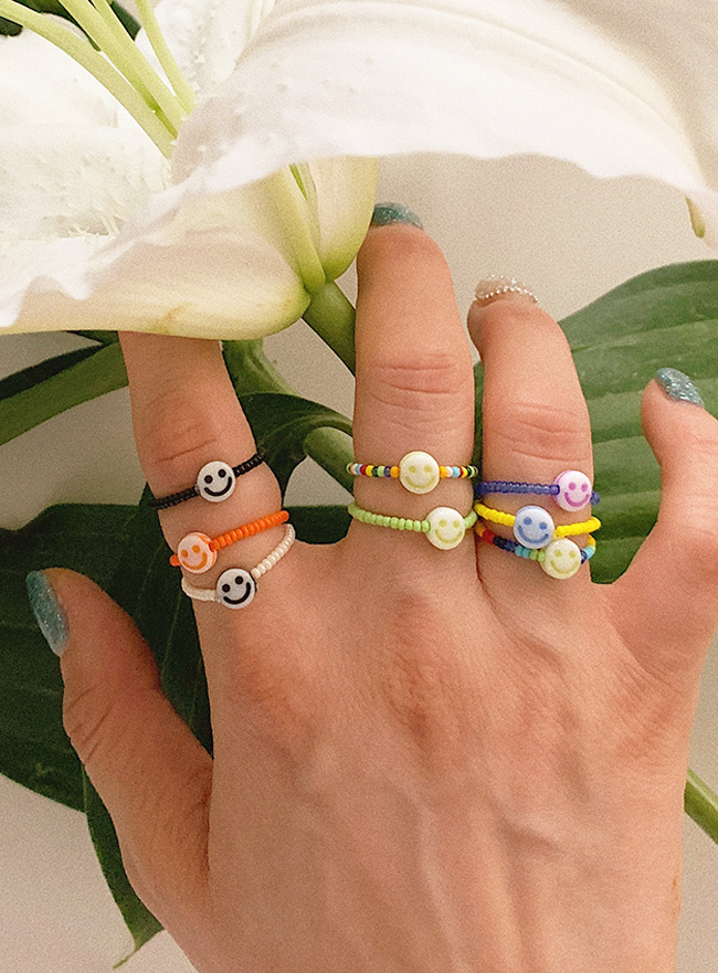 smile beads ring (8 colors)