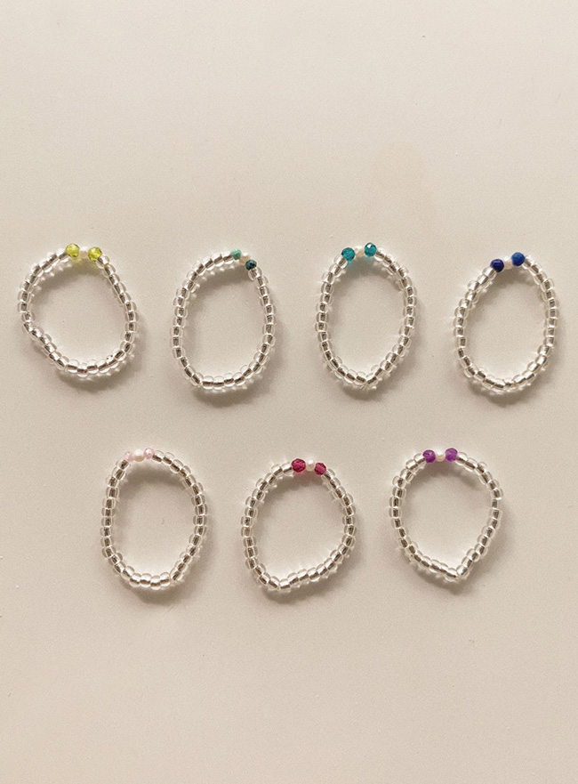 clear crystal gem ring (7 colors)