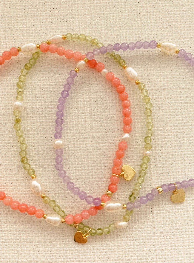 new heart and beads bracelet (3 colors)