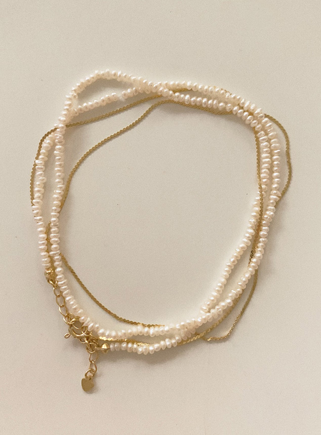 (Silver 925) pearl layered necklace (gold)