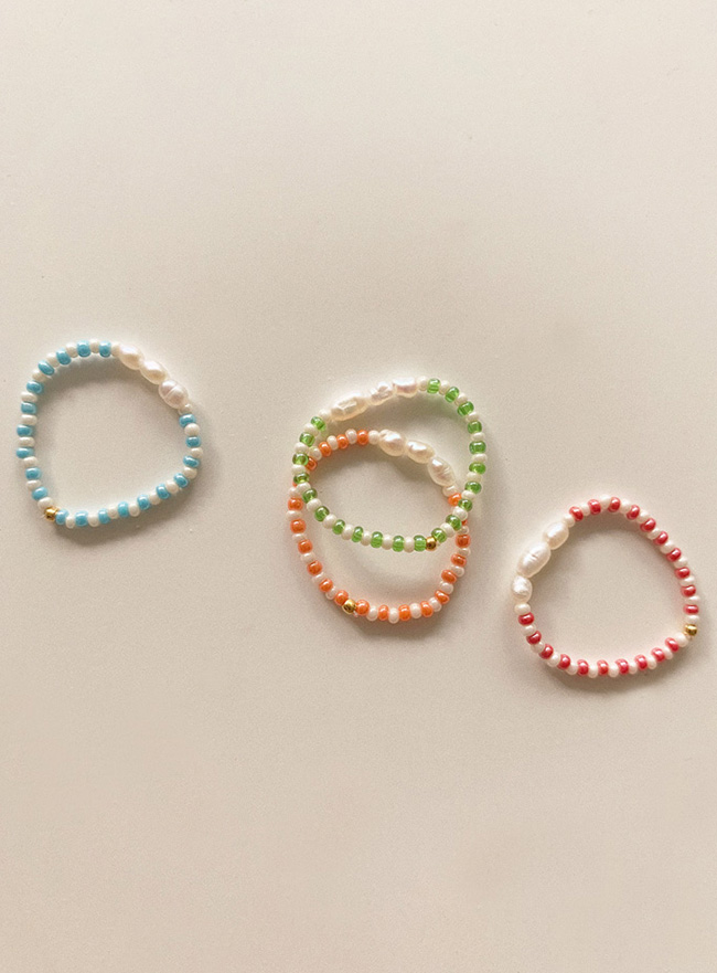 pearl and beads ring (4 colors)
