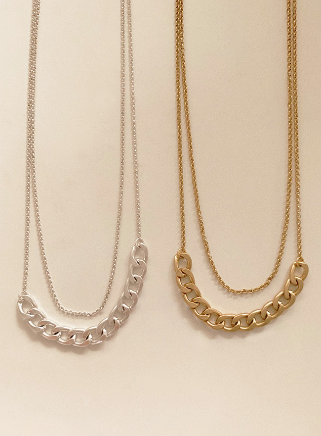 chain layered necklace (2 colors) (Allergy free)