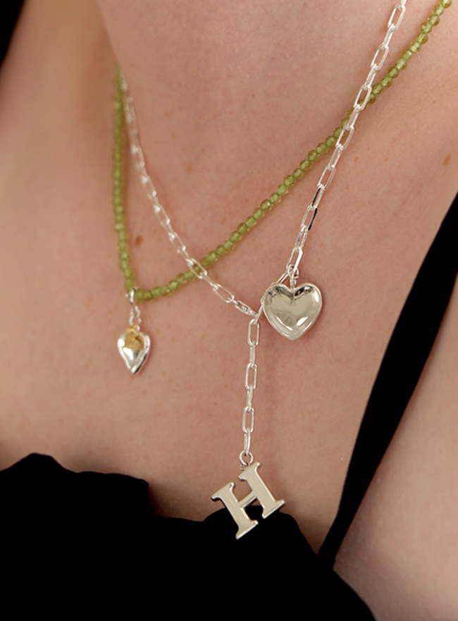 [DEEPBROW SEO] initial with 2way heart necklace (Silver 925)