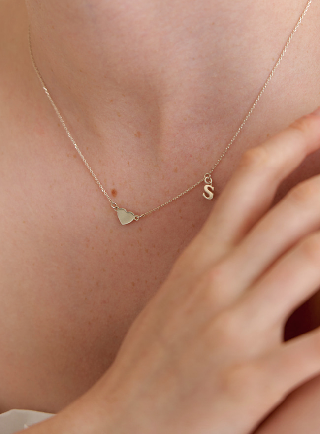 [DEEPBROW SEO] initial and heart necklace (Silver 925)