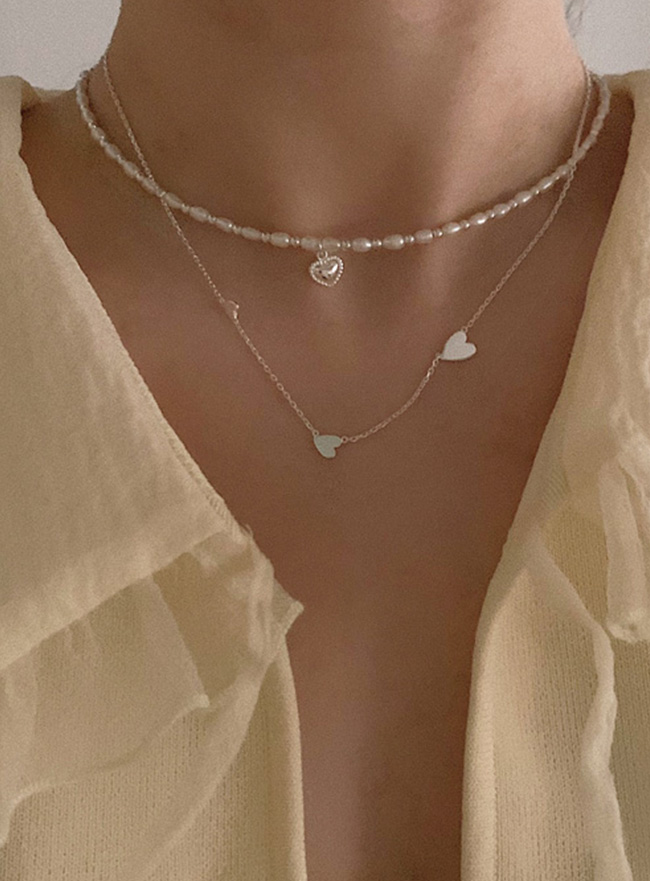 (Silver 925) soft heart pearl necklace