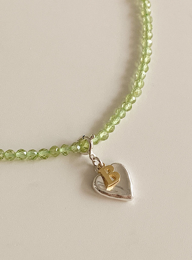 [DEEPBROW SEO] peridot 2way initial necklace (Silver 925)