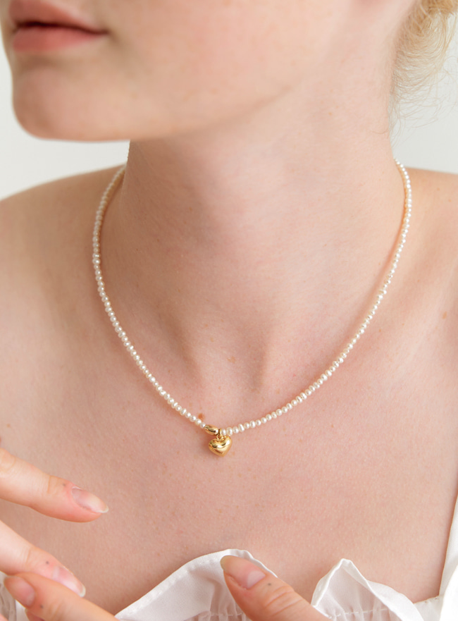 [DEEPBROW SEO] heart ball mix pearl necklace (14k gold filled)