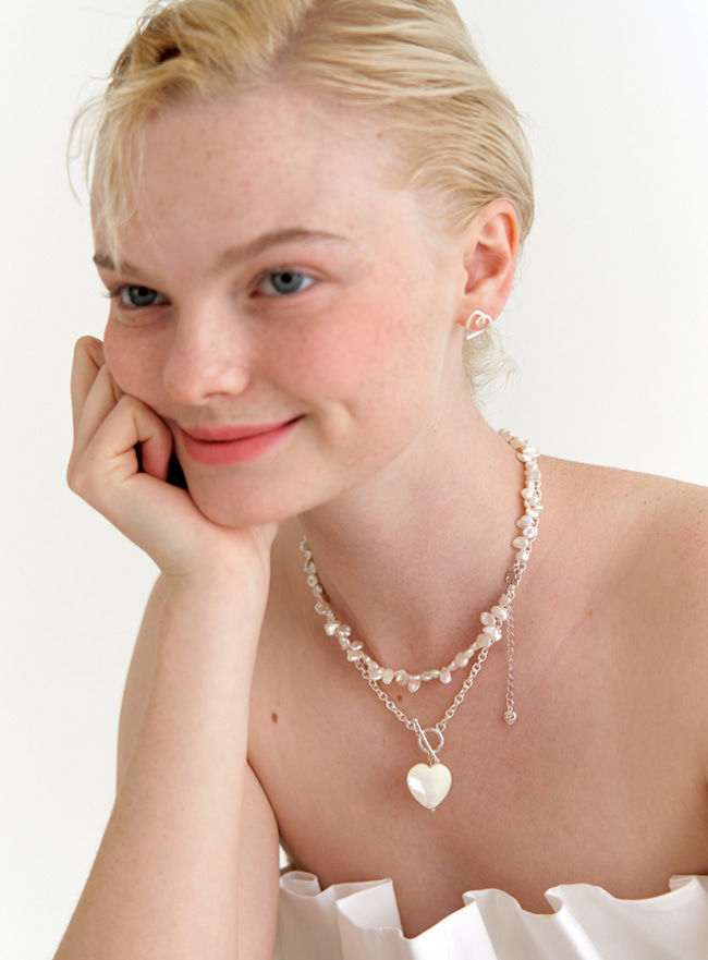 [DEEPBROW SEO] heart mother of pearl chain necklace (Silver 925)